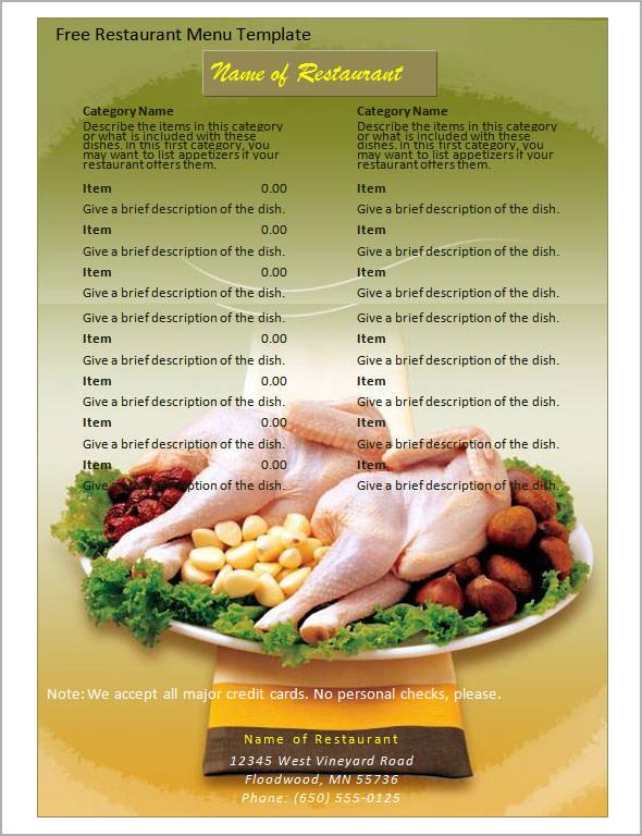 19 Great Printable Food Menu Templates Sample Templates - free food menu template