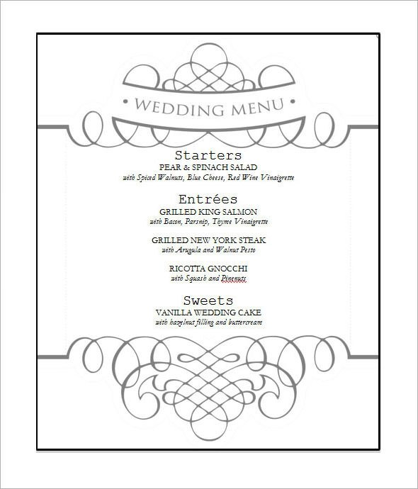wedding menu template - 28 images - wedding menu template beepmunk - menu templates free download word