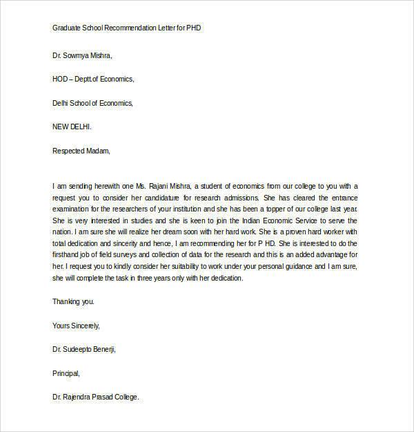 engineering grad school letter of recommendation