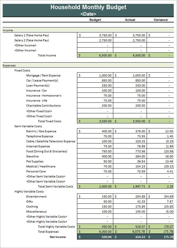 9+ Household Budget Samples Sample Templates - budget templates excel free