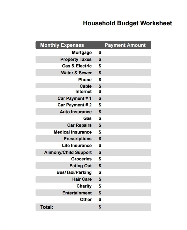 budget household spreadsheet - 100 images - college budget template - home budget worksheet free