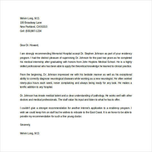 Letters of Recommendation for Graduate School - 38+ Download Free - medical school recommendation letter