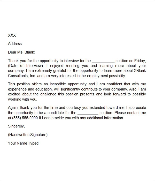 Thank You Letter After Interview Template Sample Thank You Letter