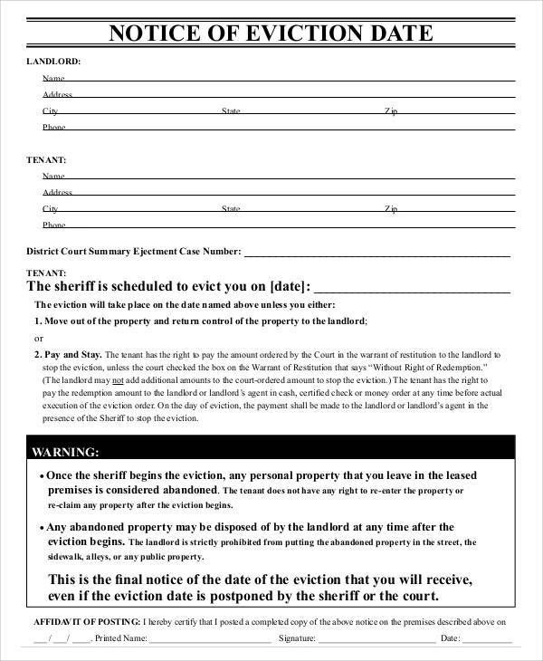 Sample Eviction Notice Template - 37+ Free Documents in PDF, Word - final notice template