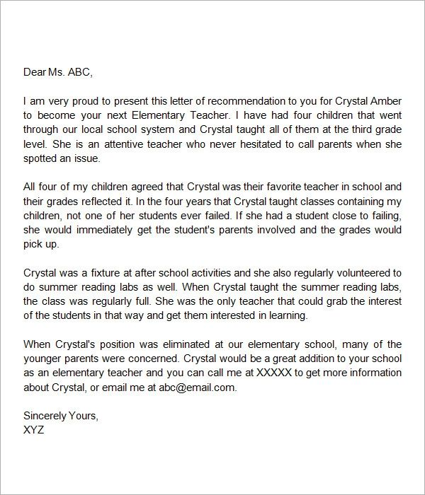 letter of recommendation for teacher of the year from parent