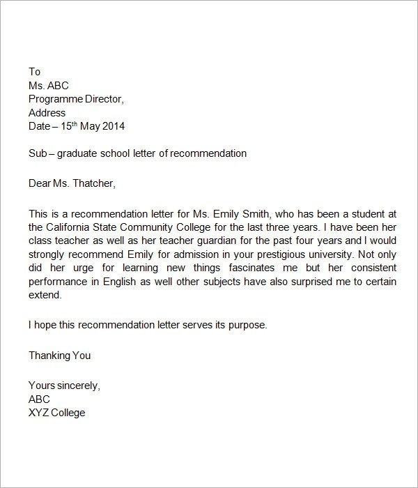 Sample Reference Letter For Student Entering College | Writing