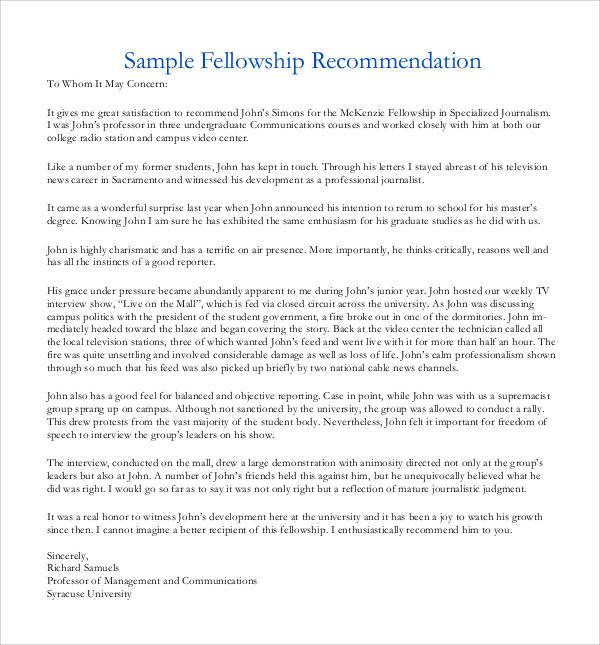44+ Sample Letters of Recommendation for Graduate School - DOC, PDF