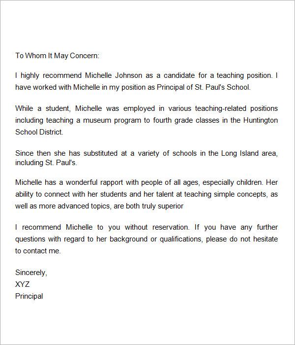 18+ Letter of Recommendation for Teacher Samples \u2013 PDF, DOC Sample