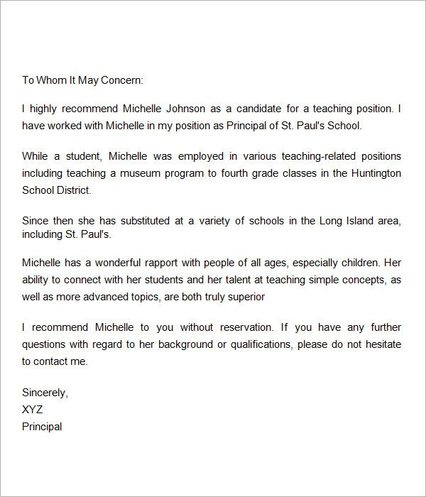 sample letter of recommendation for teaching assistant