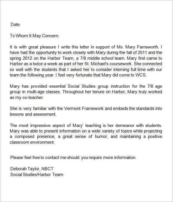 Sample Letter of Recommendation for Teacher - 18+ Documents in Word - teacher letter of recommendation