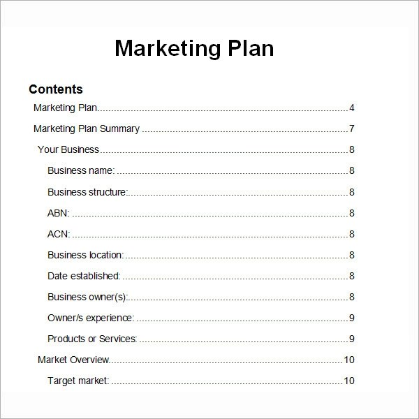 14+ Sample Marketing Plan Templates Sample Templates - marketing plan template word