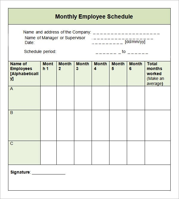 9 Sample Monthly Schedule Templates to Download Sample Templates - employee monthly schedule template