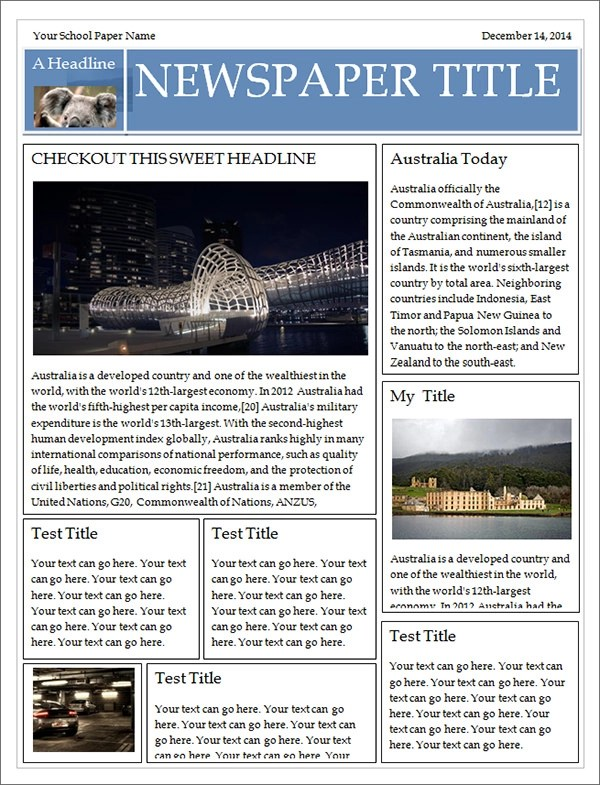 Newspaper Powerpoint Template 10 Best Images Of Newspaper - microsoft word newsletter templates free download