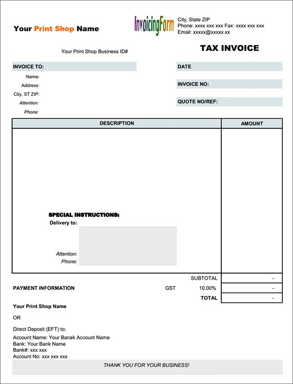 16 Customisable Tax Invoice Templates to Download Free Sample - Free Pdf Invoice
