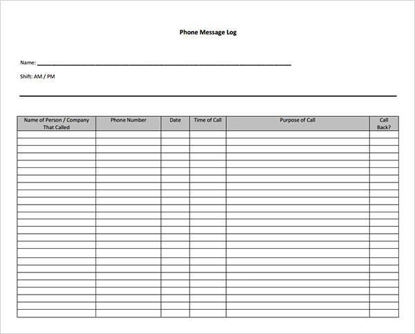 10+ Sample Phone Message Templates \u2013 PDF, Word, Excel Sample Templates - phone message log template