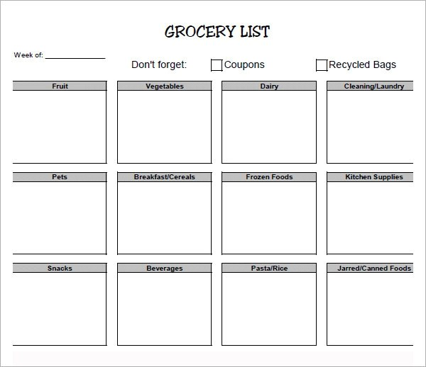 blank grocery list printable - Romeolandinez - blank grocery list templates