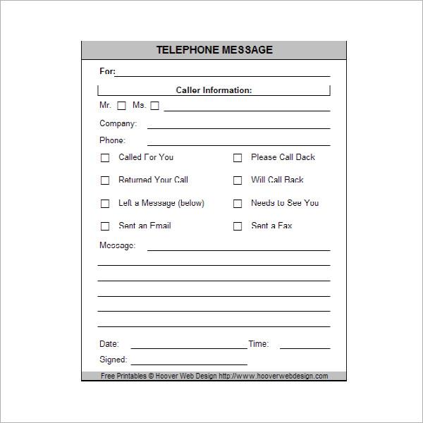 phone message book template - Canasbergdorfbib