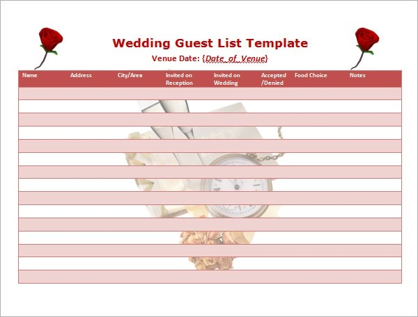 Wedding List Template 6 Free Wedding Guest List Templates - Excel - guest list sample