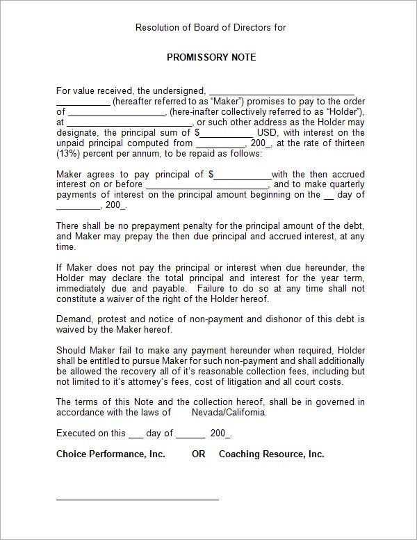 unsecured promissory note template - Blank Promissory Notes