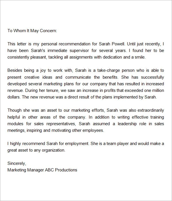 How To Write A Recommendation Letter The Professor Is In Sample Recommendation Letters For Employment 12