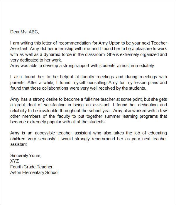 sample letter of recommendation for teacher tenure