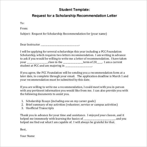35+ Letters of Recommendation for Student Download for Free Sample