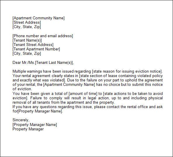 43+ Eviction Notice Templates \u2013 PDF, DOC, Apple Pages Sample Templates - how to write a eviction notice for tenants