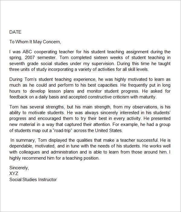 18+ Letter of Recommendation for Teacher Samples \u2013 PDF, DOC Sample - letter of recommendation for coworker