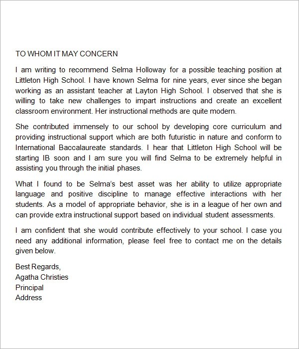 Examples Of A Character Reference Letter Catalogs Sample Letter Of Recommendation For Teacher 18