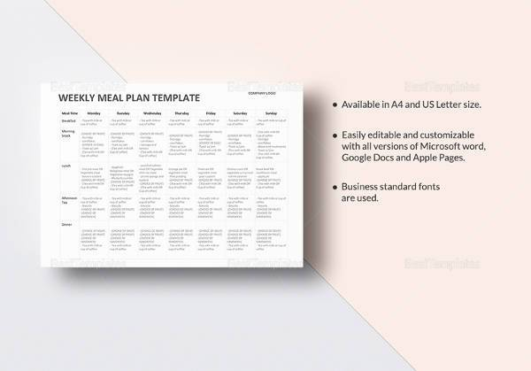 Sample Meal Planning Template - 16+Download Free Documents in PDF, Excel - sample meal planning