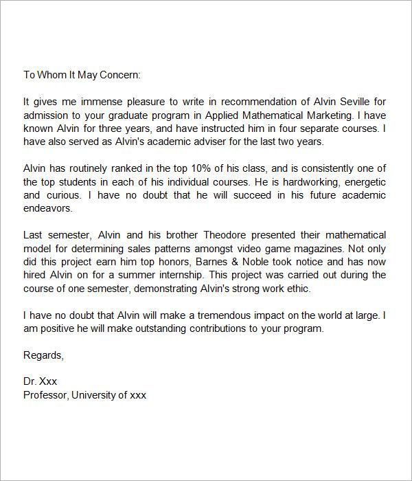 Recommendation Letter For A Friend Graduate School – Sample Letters of Recommendation for Graduate School
