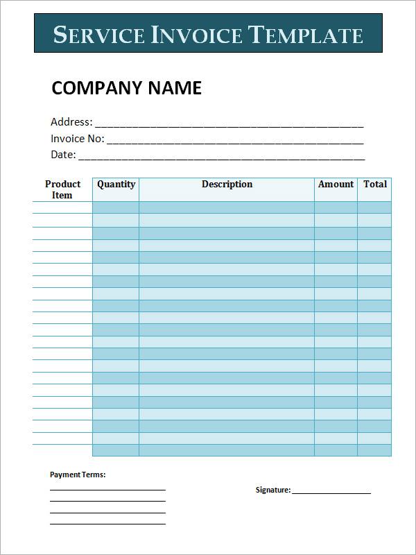 34 Printable Service Invoice Templates Sample Templates - sample service invoice