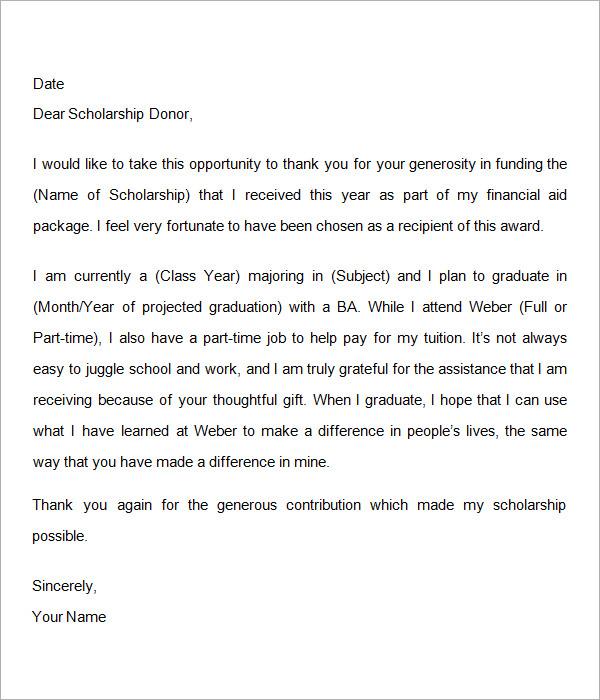12+ Sample Scholarship Thank You Letters \u2013 DOC, PDF Sample Templates - scholarships thank you letter