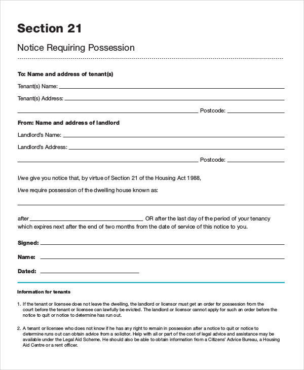 √ 43+ Eviction Notice Templates PDF, DOC, Apple Pages