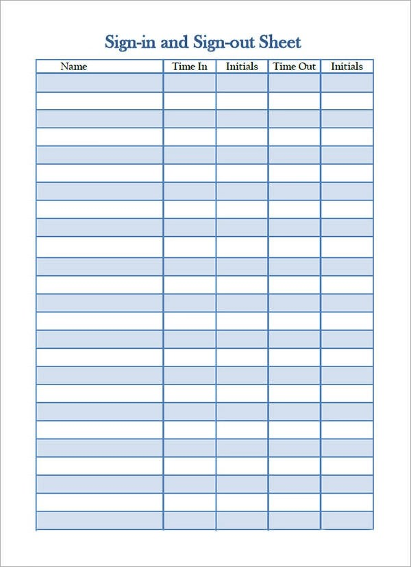 Visitor Sign In Sheet Template Excel – Sign out Sheet Template Word