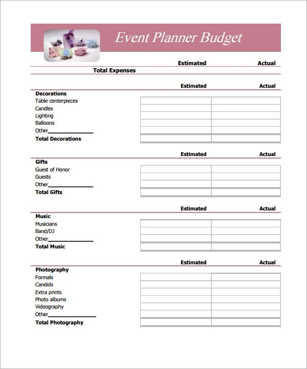 Event Planner Spreadsheet Template – Event Budget Template