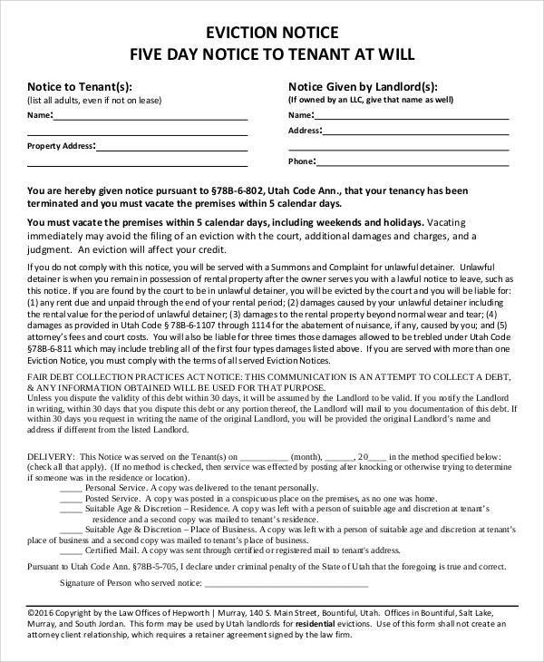 43+ Eviction Notice Templates \u2013 PDF, DOC, Apple Pages Sample Templates