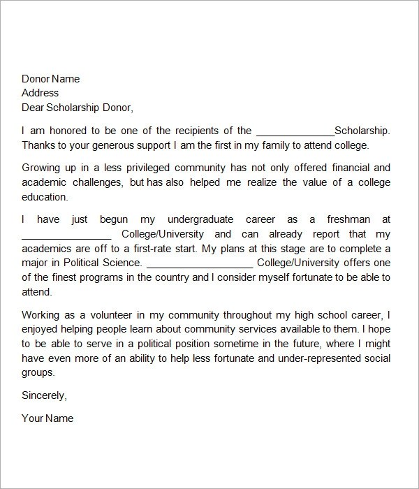 12+ Sample Scholarship Thank You Letters \u2013 DOC, PDF Sample Templates