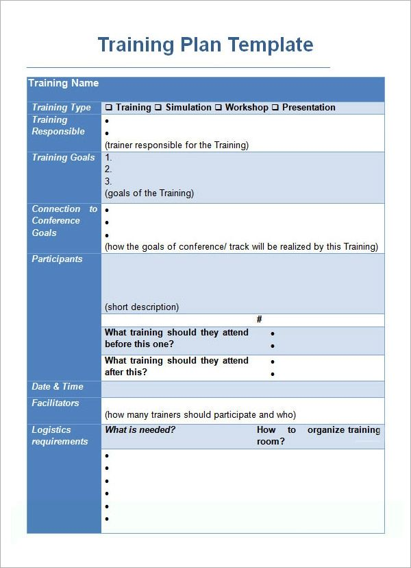 example of training schedule template