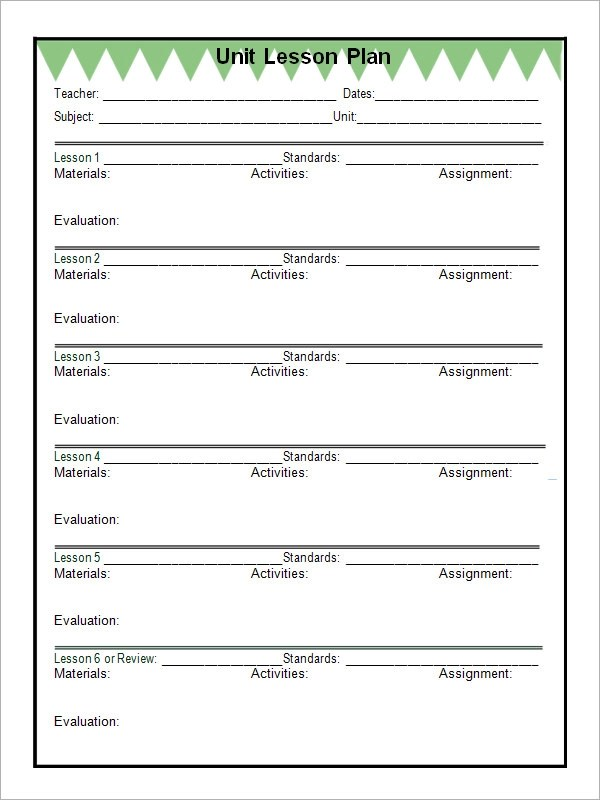 12 Sample Unit Plan Templates to Download for Free Sample Templates - templates for teachers