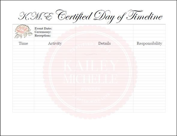 blank wedding day timeline template