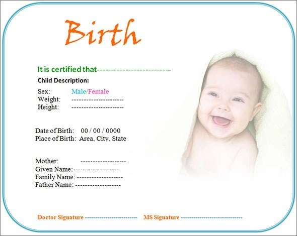 18 Birth Certificate Templates to Download Sample Templates