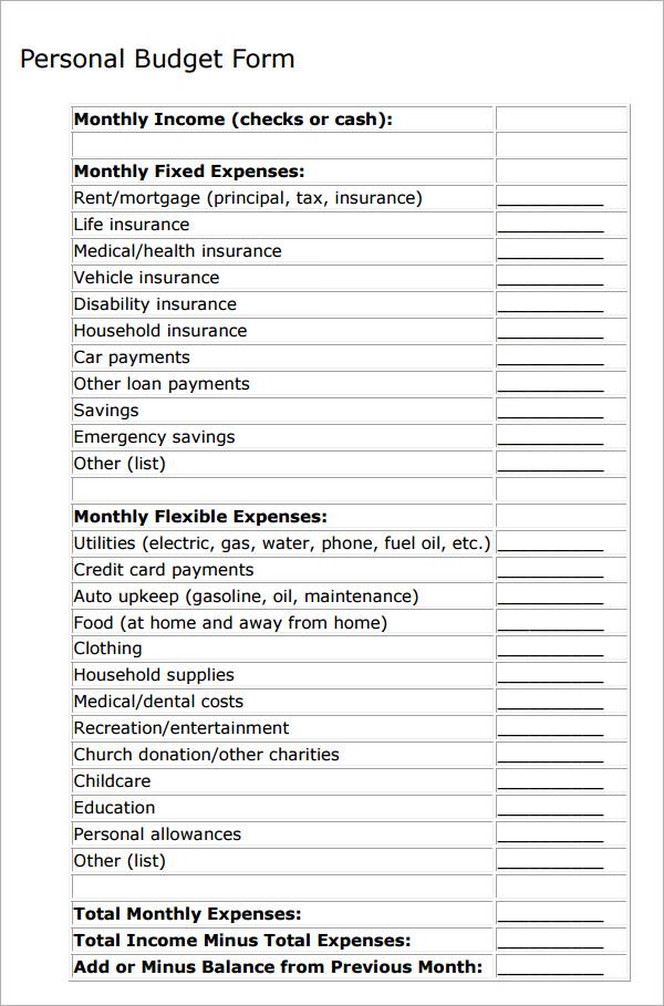 11+ Personal Budget Samples Sample Templates