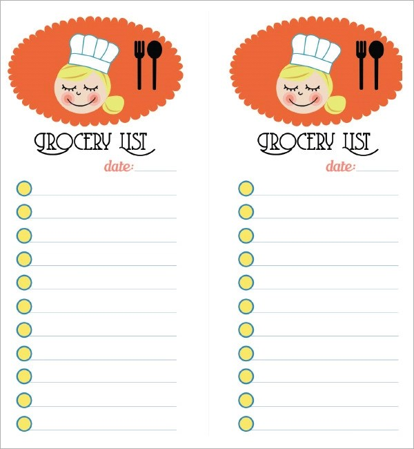 Sample Grocery List Template - 9+ Free Documents in Word, Excel, PDF - printable grocery list template