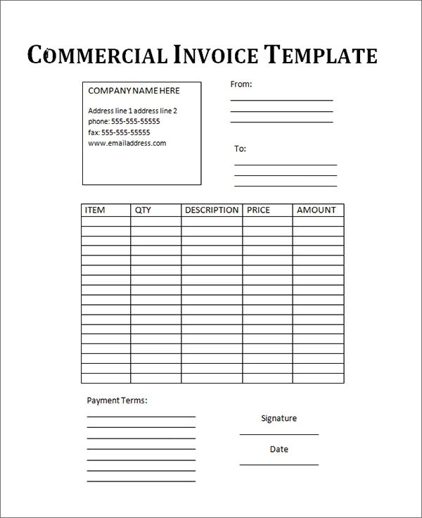 18 Free Commercial Invoice Templates Sample Templates - commercial invoice format