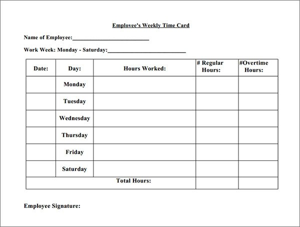 employee time cards template - Goalgoodwinmetals