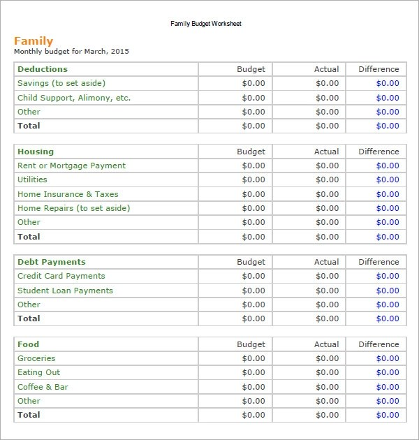 11+ Family Budget Samples Sample Templates