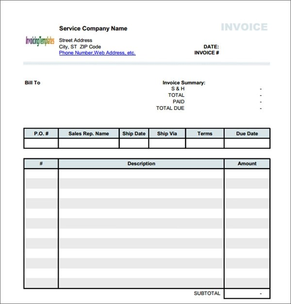 Service Invoice - 34+ Download Documents in PDF, Word, Excel, PSD - it services invoice template