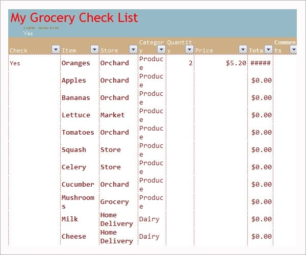 simple grocery list template - grocery list template excel free download