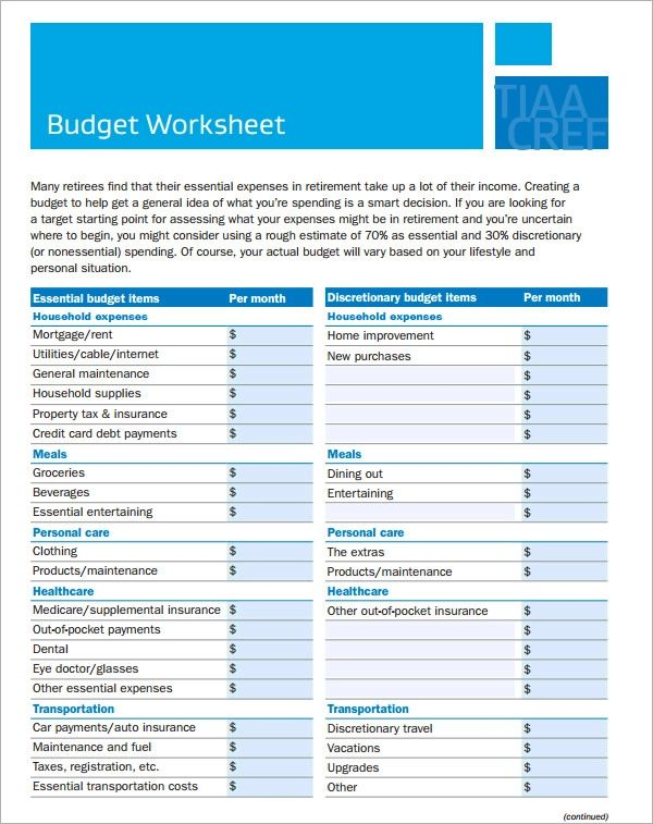 household budget examples